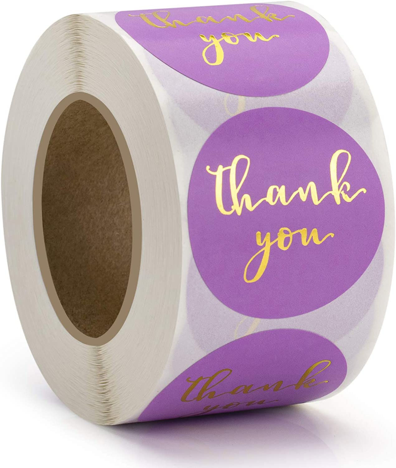 1.5'' Thank You Stickers, Adhesive Gold Font Thank You Stickers Labels, Round Small Business Stickers, Ideal for Bakery, Boutiques,Retailers & Small Business Owners, 500 Labels Per Roll (Purple)
