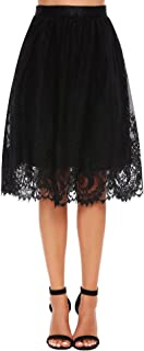 Zeagoo Women High Waist Lace Floral Midi Skirt Extender with Lace Trim