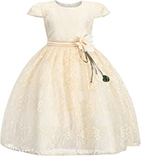Sponsored Ad - 4-10 Years Little Girls Cap Sleeves 3D Flower Lace Wedding Flower Girl Birthday Party Christing Party Dress