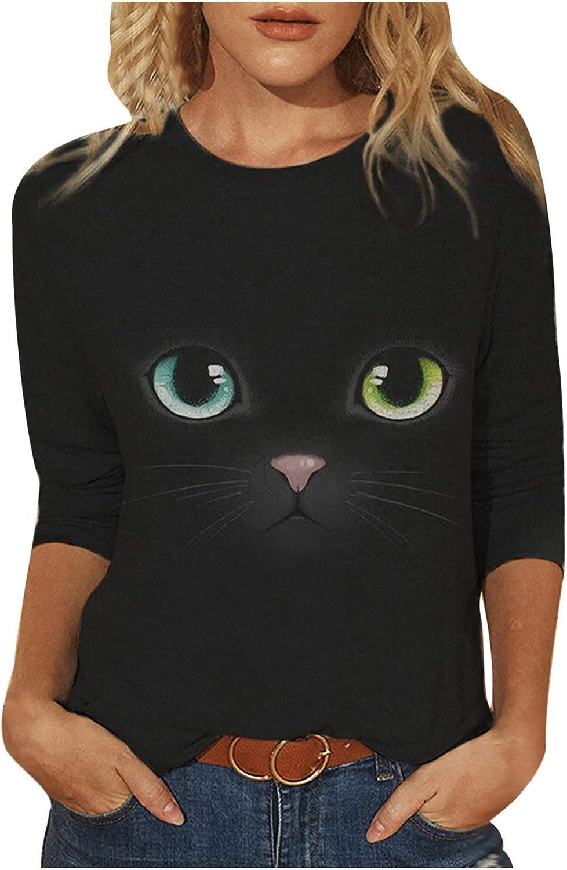 Women's T Shirts,Women's Cat Graphic Short Sleeve O-Neck Shirts Loose Casual Animal Summer T-Shirt Tops