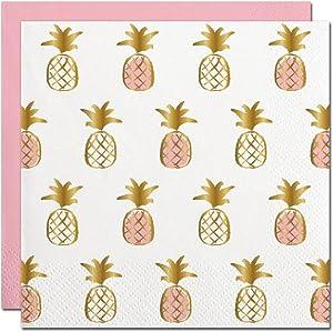 Slant Gold Foil Pink Pineapples Paper Beverage Napkins