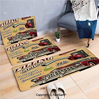 3 Piece Non Slip Flannel Door Mat Filling Station Gasoline and Oil Drawing with a Realistic Car Design Art Print Decorative Indoor Carpet for bath Kitchen(W15.7xL23.6 by W19.6xL31.5 by W19.6xL59)