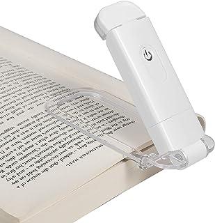 Lámpara de lectura DEWENWILS con pinza recargable, color ámbar para leer en la cama, bloqueo de luz azul, 4 niveles de brillo ajustables, lámpara LED para niños y lombrices