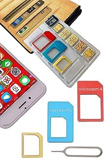 【 紛失防止 クレカより薄い SIM カード ケース ホルダー 日本製 】スキマに入る 変換 アダプタ イジェクトピン 4点セット SilverCoral (カラフル (収納量 NanoSIM5枚 & MicroSD1枚))