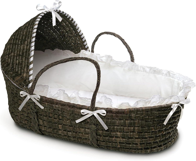 Badger Basket Moses Basket with Hood and Bedding, Espresso White