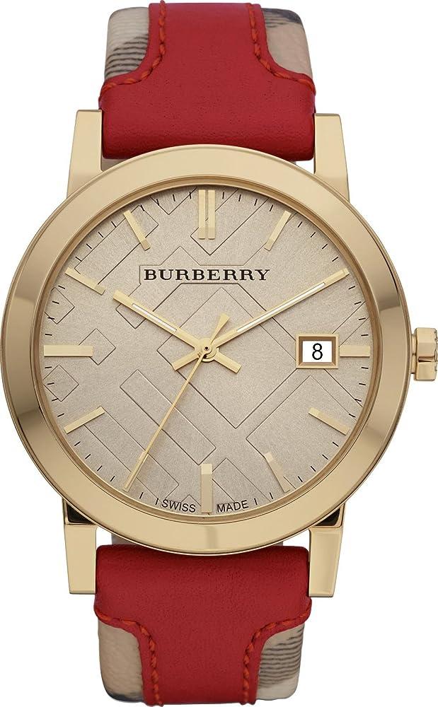 Burberry,orologio unisex,cassa in acciaio inossidabile,e cinturino in pelle di vitello e tessuto multicolore BU9017