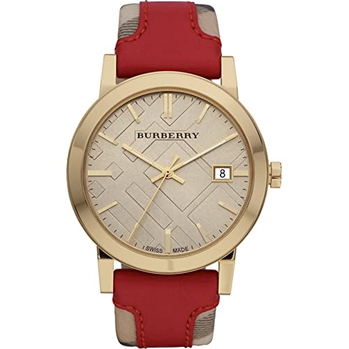 d188fbb0dde9 Burberry LUXURY Swiss Gold Watch Unisex Womens Men The City Collection Check  Authentic Red Leather Beige