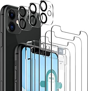 6 Pack LK 3pcs Screen Protector for iPhone 11 + 3pcs Camera Lens Protector Anti-Scratch Easy-Installation Tool Tempered Gl...