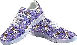 HUGS IDEA Chaussures de sport plates légères en mousse à imprimé numérique - Motif animal de dessin animé - Pour fitness, ...