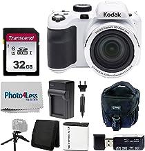Kodak PIXPRO AZ421 Digital Camera (White) + Point & Shoot Camera Case + Transcend 32GB SD Memory Card + Extra Battery + US...