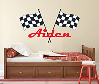 Lovely Decals World LLC Custom Racing Name Wall Decal for Boys Race Car Theme Nursery Baby Room Mural Art Decor Vinyl Sticker LD20 (38