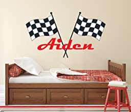 Lovely Decals World LLC Custom Racing Name Wall Decal for Boys Race Car Theme Nursery Baby Room Mural Art Decor Vinyl Sticker LD20 (18