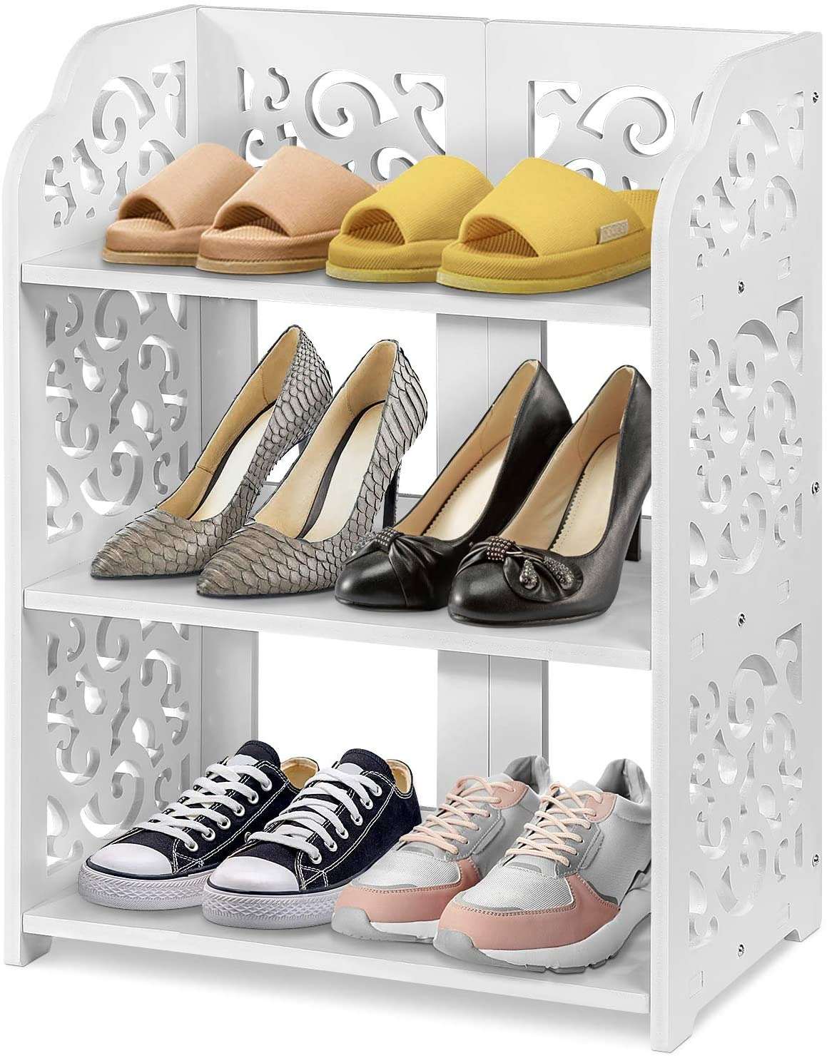 Shoe Regular dealer Cabinet Rack Space Selling and selling Saving White with Hollow Chic