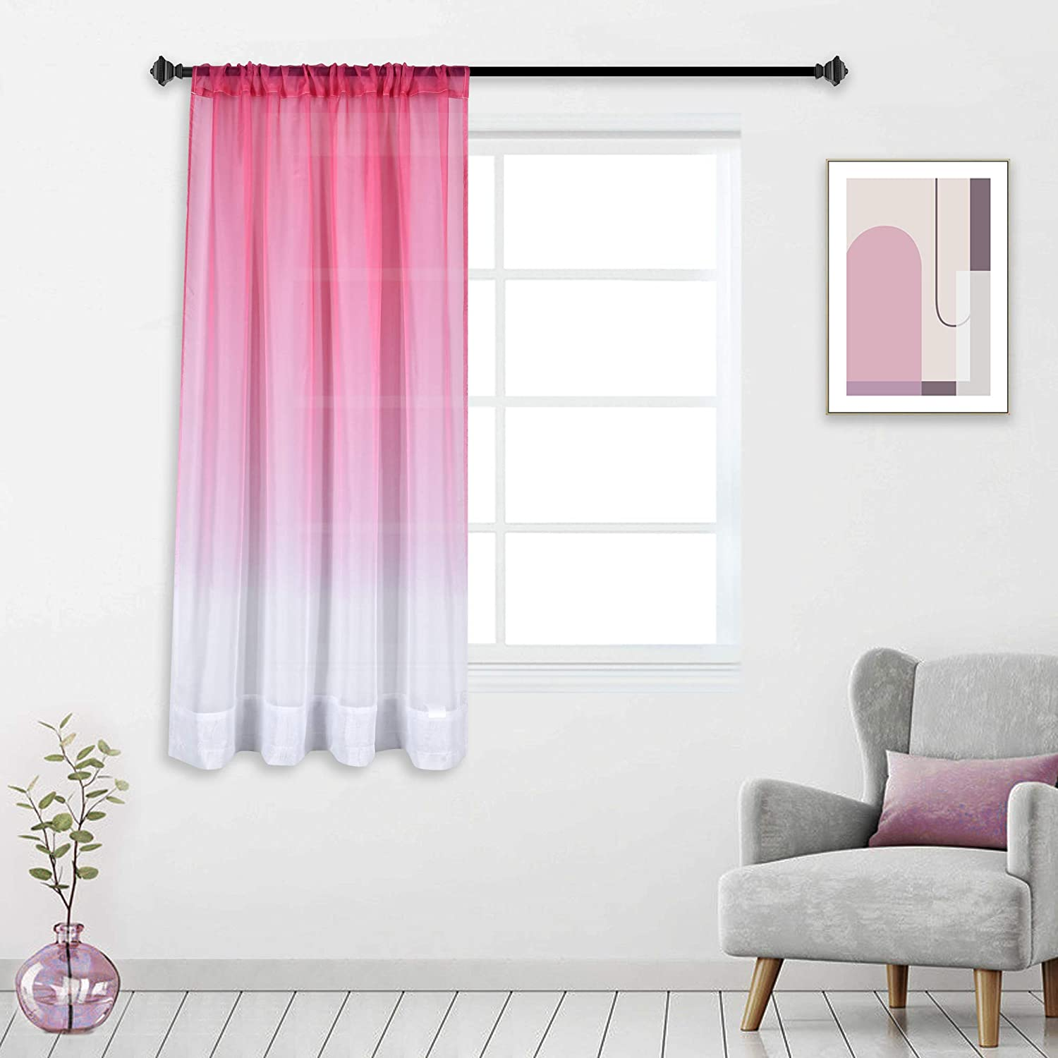Pink Sheer Curtain for Little Girls Kids Room Bedroom Ombre Gradient Window Panel for Princess Teenage Daughter Closet-Sheer Backdrop Curtain Drape for Wedding Party Decoration 63 Inch Pink and White