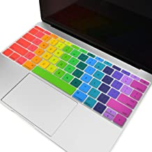 TOP CASE - Keyboard Cover Silicone Skin Compatible with MacBook Pro 13 inch Model A1708 (No TouchBar) Release 2017 & 2016/Macbook 12-inch with Retina Display Model A1534 - Rainbow