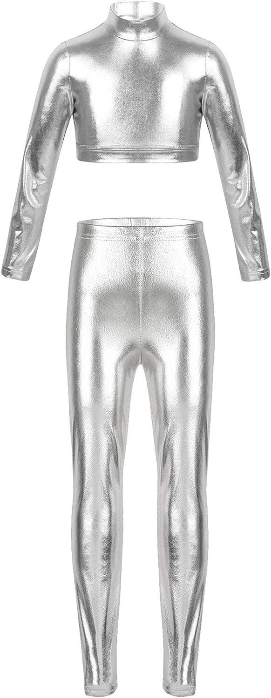 FEESHOW Kids Girls 2PCS Metallic Hip Hop Jazz Street Dance wear Outfits Mock Neck Crop Top with Leggings Set