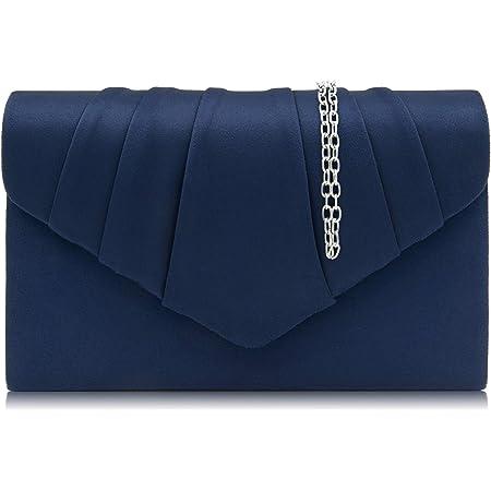 Milisente Clutch Damen, Elegante Wildleder Clutch Umschlag Crossbody Klassisch Clutch Tasche Abendtasche (Blau/blaue clutch)