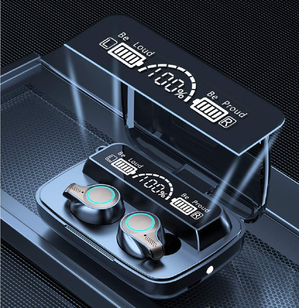 M18 Bluetooth 5.0 Wireless Earbuds with Wireless Charging Box IPX7 Waterproof TWS Stereo Earphones in-Ear Built-in Mic Earphones with Sound with deep bass, Suitable for Sports Black