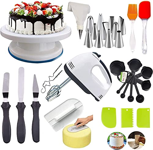 C G INDIA Cake Decorating Items Cake Turntable Nozzle Set Electronic Beater scrapers for Cake Measuring Cups and Spoons Silicon Brush Spatula Cake Smoother Random