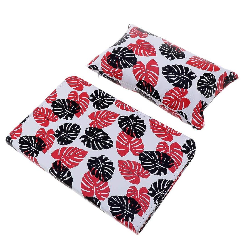 非公式杭ホイッスルCUTICATE ハンドクッション枕 ネイルアート ネイルクッション枕 マニキュアテーブルマット 折り畳み 全3色 - 赤