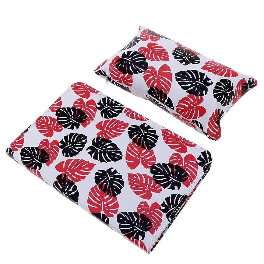 口ひげ軽蔑する方程式CUTICATE ハンドクッション枕 ネイルアート ネイルクッション枕 マニキュアテーブルマット 折り畳み 全3色 - 赤