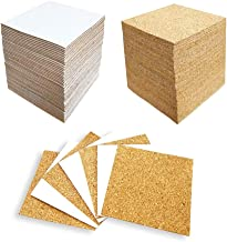 Hangnuo 100 Pack Self-Adhesive Cork Squares for Tile Coasters, 4 X 4 Inches Cork Backing Sheets Mini Tiles Board for DIY C...