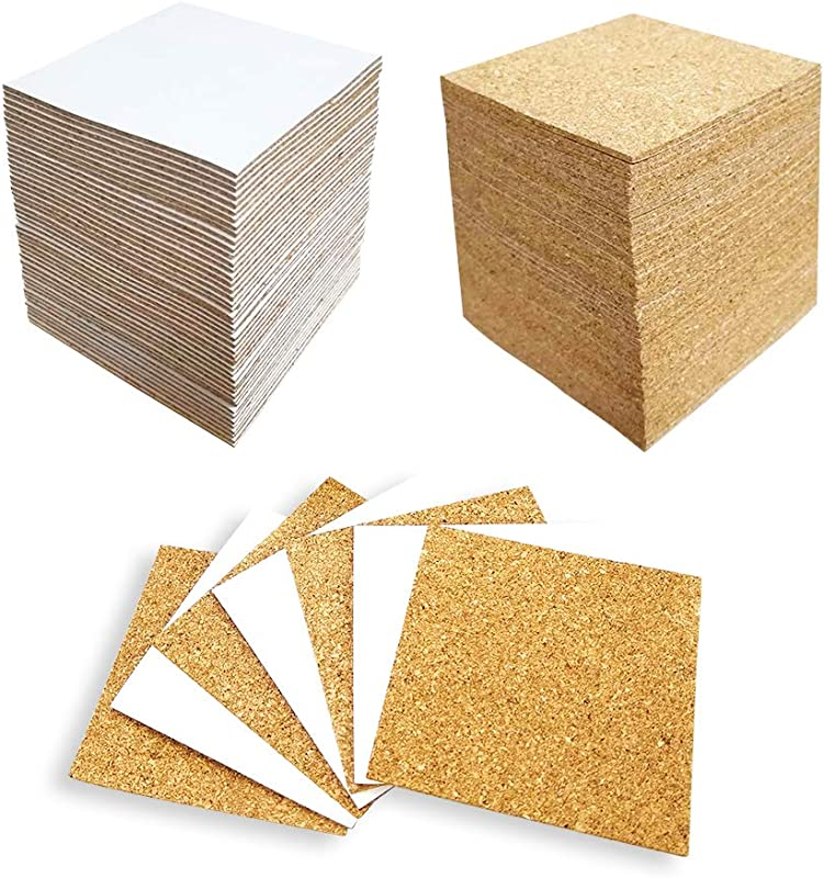 Hangnuo 100 Pack Self Adhesive Cork Squares For Tile Coasters 4 X 4 Inches Cork Backing Sheets Mini Tiles Board For DIY Crafts