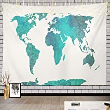 Batmerry World Map Tapestry, World Map Blue Watercolor High Turquoise Picnic Mat Beach Towel Wall Art Decoration for Bedroom Living Room Dorm, 51.2 x 59.1 Inches, Blue Turquoise