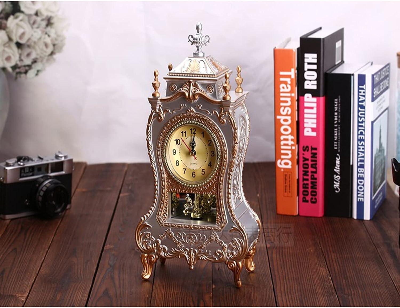 shandianniao Reloj de antigüedades, Escritorio Retro Vintage Mesa Europeo Pared Antiguo Estilo Barroco, para Sala Estar Decorativa, hogar Decorativo, despertado (Rojo marrón) (Color : B)
