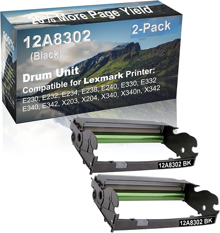 2-Pack Compatible 12A8302 X340H22G Drum Kit use for Lexmark E230, E232, E234, E238, E240 Printer (Black)