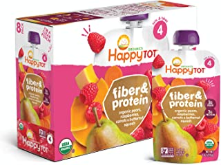 Happy Family Happy Tot Organic Fiber & Protein Pouch Stage 4 Pears Raspberries Butternut Squash & Carrots, 4 Ounce Pouch (...