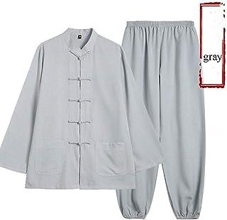 MissZZ Costume de Tai Chi Chinois Costume Tang Hommes vêtements Traditionnels Hanfu Manches brodées Hauts et Pantalons, Bo...