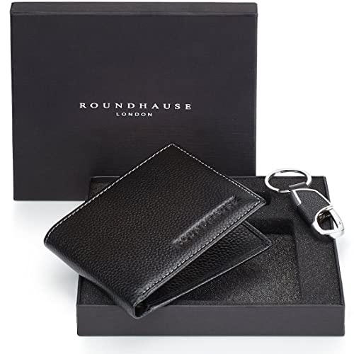Roundhause Black Designer Slim Bi Fold Mens RFID Blocking Wallet Real Leather Credit Card Holder Organiser