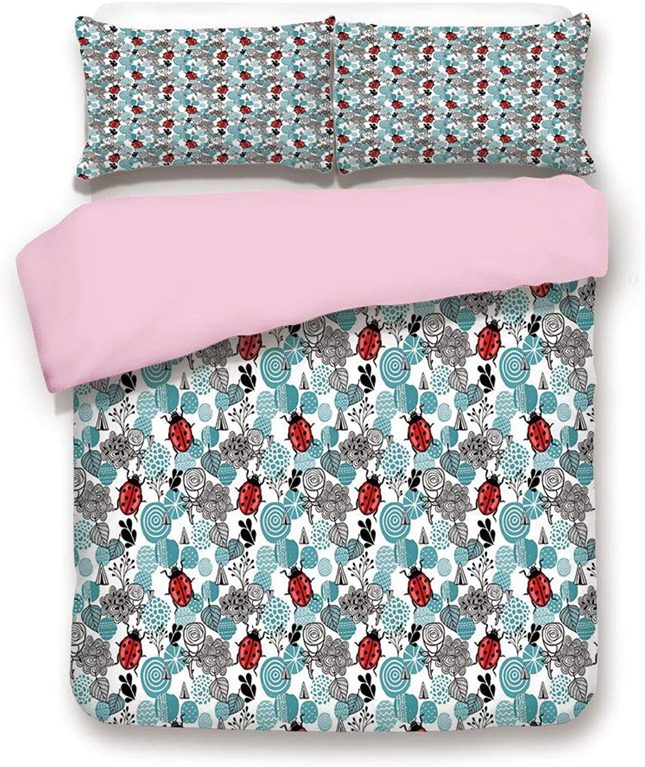 Pink Duvet Cover Set/Twin Size/Romantic Elements Flowers pinks Bugs Abstract Pattern in Doodle Style/Decorative 3 Piece Bedding Set with 2 Pillow Sham/Best Gift for Girls Women/Pale bluee Red Black