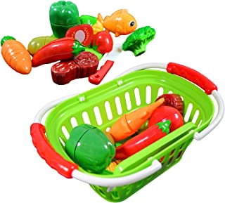 CoolToys Fruits and Vegetables Pretend Food Cutting Toy Playset with Plastic Grocery Basket for Kids Pretend Play, 13 Pieces
