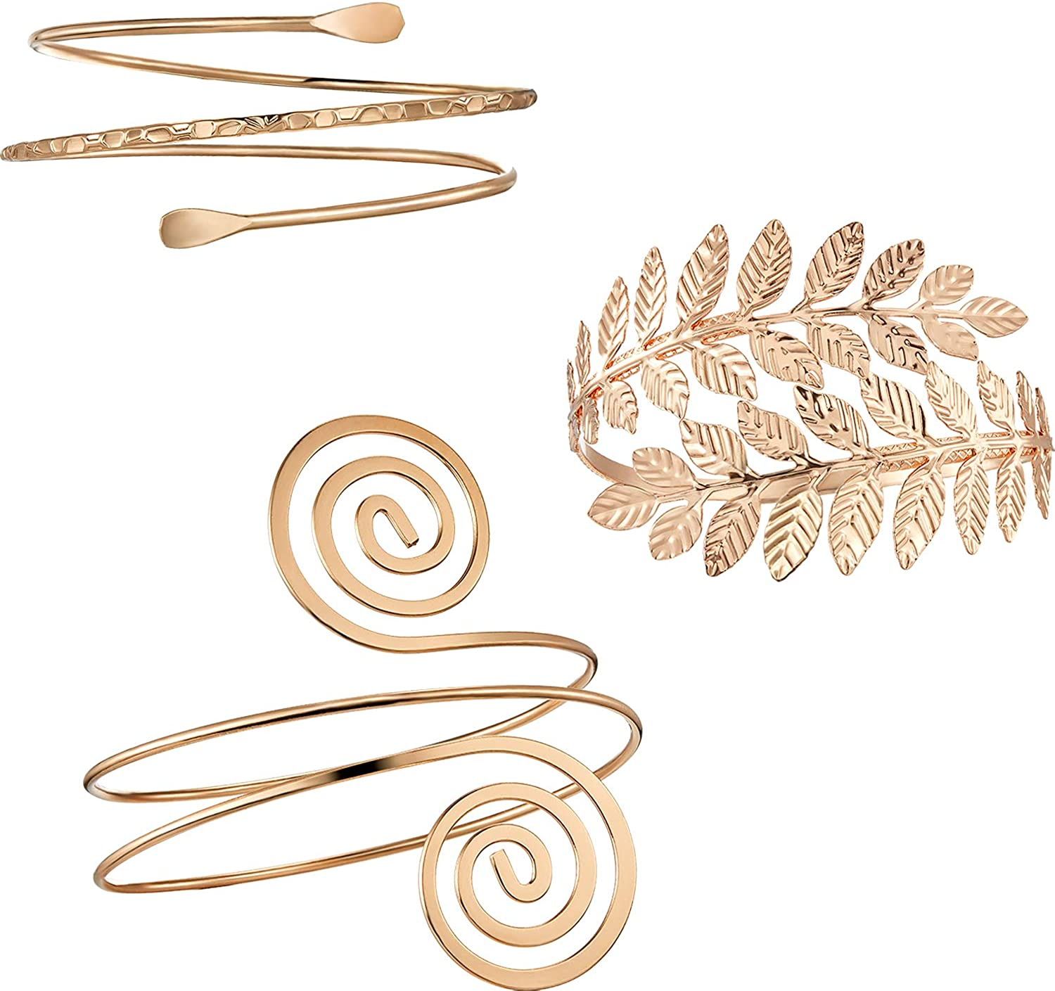 Hicarer 3 Pieces Upper Arm Bracelet Gold Metal Coil Swirl Leaf Armband Cuff Fashion Simple Arm Bangle Armlet Adjustable for Women Girls