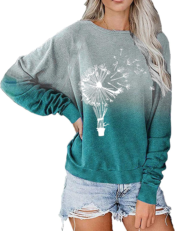 Womens Long Sleeve Tops,Womens Plus Size Long Sleeve Sweatshirt Round Neck Fashine Tie Dye Print Pullover Shirts