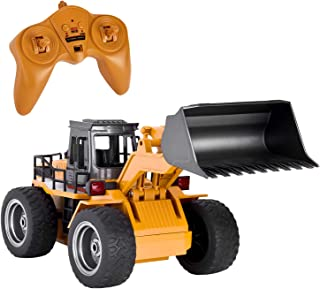 GotechoD Remote Control Construction Toy RC Truck, Alloy Shovel 2.4G RC Vehicle Remote Control Truck Loader RC Bulldozer, 1/18 6 Channel 4WD Tractor RC Front Loader for 6 Years Old Boys Kids Gift