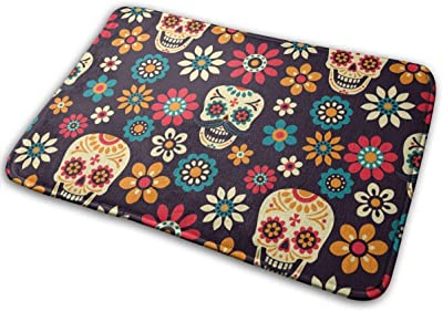 "Sugar Skulls and Flowers On Dark Doormat Front Door Mat Non Slip Door Rug Shoes Scraper Rug Carpet - 23.6"" x 15.8"""