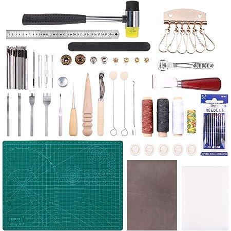 Malayas 44Pcs Outils de Maroquinerie Kit Couture Cuir Bricolage pour Débuter Travail du Cuir Outillage d' Artisanat Sculpture DIY Fourniture