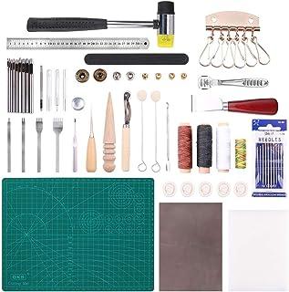 Malayas 44Pcs Outils de Maroquinerie Kit Couture Cuir Bricolage pour Débuter Travail du Cuir Outillage d' Artisanat Sculpt...