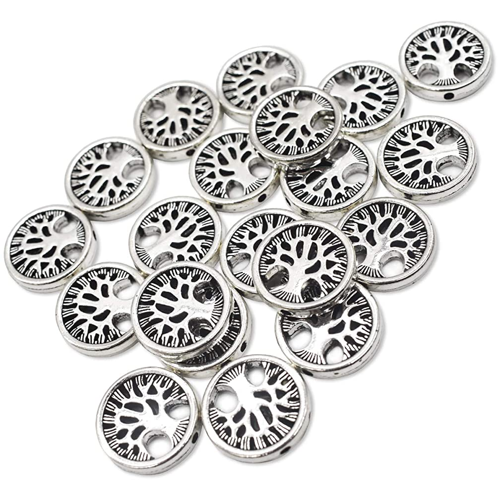 AUEAR, 20 Pcs Tree of Life Spacer Beads Spacers Charms for DIY Jewelry Making Antiqued Silver 2mm Hole