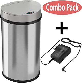 iTouchless 13 Gallon Semi-Round Extra-Wide Opening Sensor Touchless Trash Can with AC Adapter and Odor Control System, Stainless Steel Silver Garbage Bin