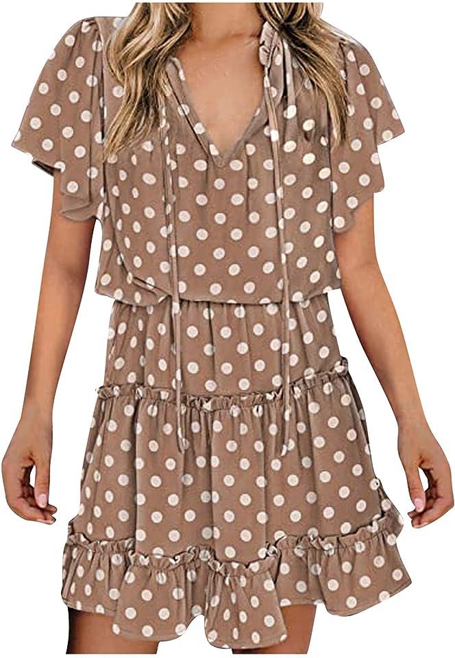 Summer Dress for Women Floral Print Mini Dress Ruffle Short Sleeve Print Dress V Neck Casual Short Dresses