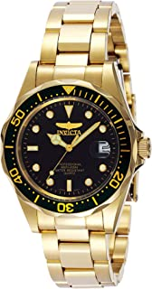 Men's Pro Diver 37.5mm Gold Tone Stainless Steel Quartz Watch, Gold/Black (Model: 8936)