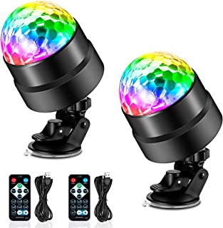 BicycleStore Disco Ball Party Lights, 2 Pack Remote Control DJ Strobe Light USB Battery Powered Sound Activated LED Stage Light Rotating Lamp with 7 RGB Lighting Modes for Pub Club Parties Bar KTV