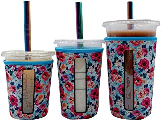 3 Pack Reusable Iced Coffee Cup Insulator Sleeve With Window for Cold Beverages and Neoprene Cup Holder for Starbucks Coff...