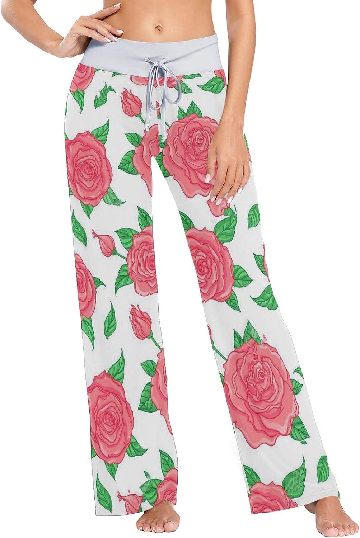 MSACRH Limited price Pajama Max 89% OFF Pants for Women Wid Sleepwear Elegant Roses
