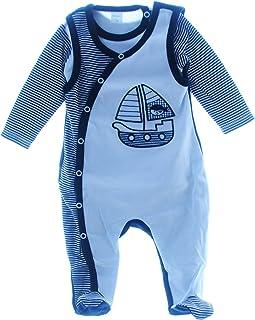 Malgosia - A&O Strampler & Body Baby Set Geringelt Blau/Weiß 74 Kombination