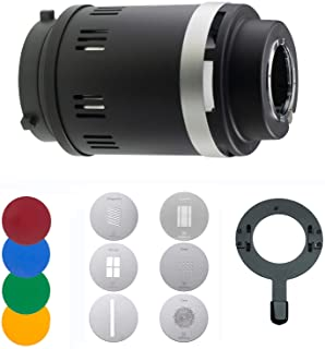 WELLMAKING Conical Snoot Bowens Mount Studio Lighting Accessory,4 Color Filters and 6 Gobos Included for Monolight Photogr...